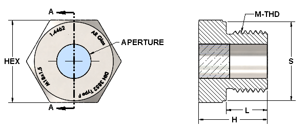 metric thread sight glass dimensions